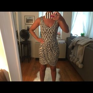 Tart Faux-wrap Tulip skirt black and white dress